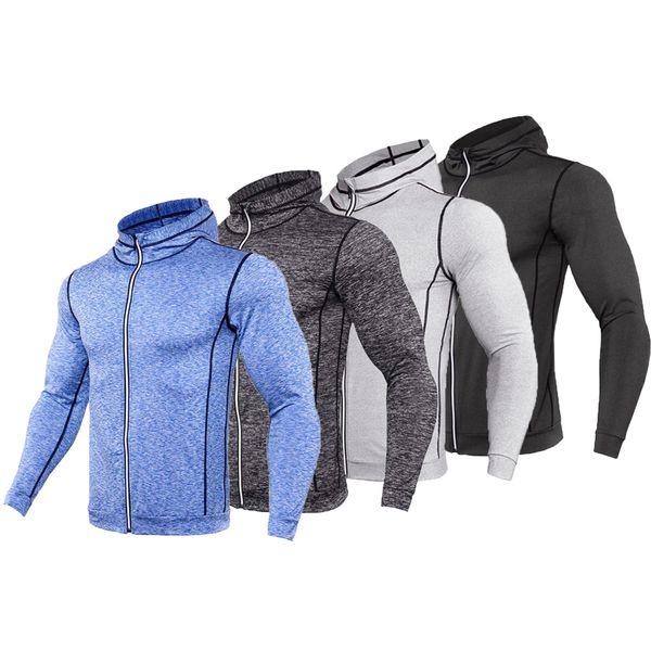 Hooded Sport Shirt Men Long Sleeve Zipper Running T Shirt Men Hoody Compression Gym Tshirt Fitness Top