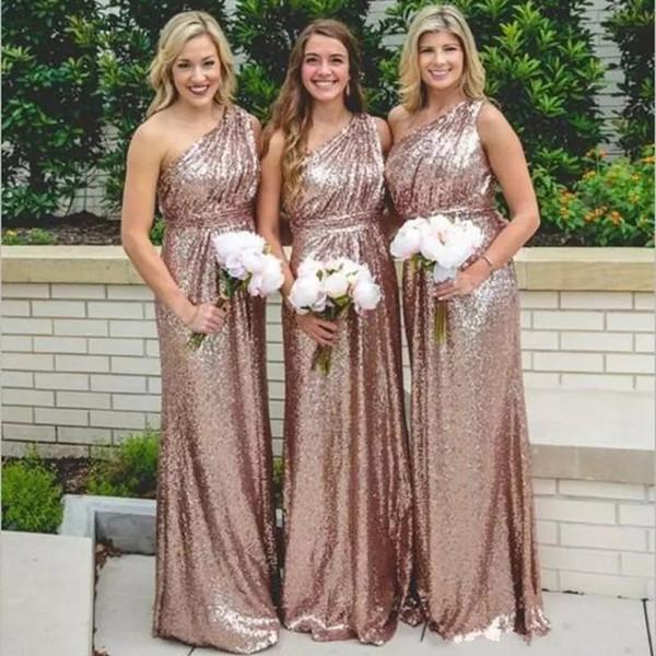 Rose Gold Lantejoulas Vestidos de Dama de Honra 2019 Bling Para Casamentos Um Ombro A Linha Longo Até O Chão Plus Size Vestidos de Dama de Honra Formal