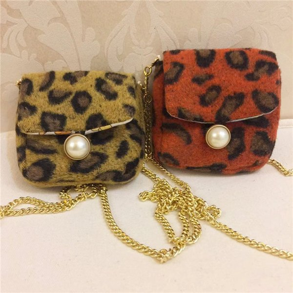 Fashion Baby Girl Leopard Hangbags Kids Girl Plaid Cross-body Mini Bag Children Cute Chain Purse