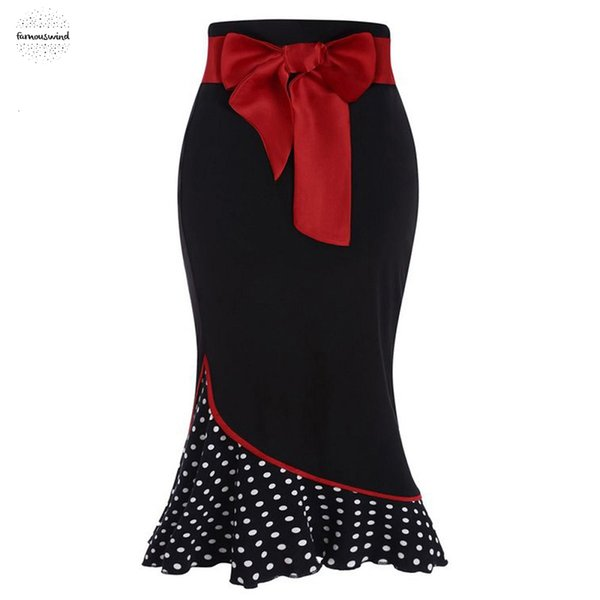polka dot patchwork skirt bowknot mermaid vintage bodycon women skirt girl black sheath bottom female party