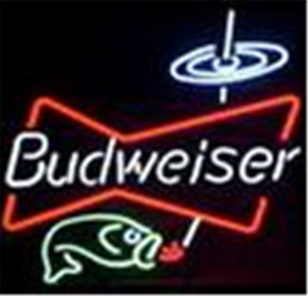 New Star Neon Sign Factory 17X14 Inches Real Glass Neon Sign Light for Beer Bar Pub Garage Room Budweiser Bowtie Fish Beer.