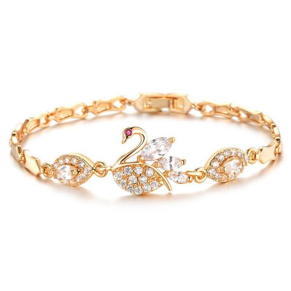 European and American fashion diamond 3A zircon plating 18K gold swan bracelet for women fashion luxury snap jewelry