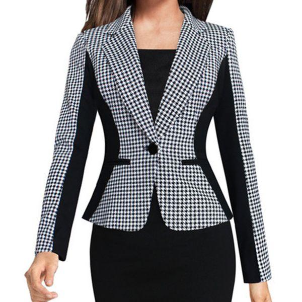 Women's Splice Jacket Houndstooth Contrast Slim Fit Small Suit Coat Coat Casual lady Streetwear loose Outerwear tops 7.16
