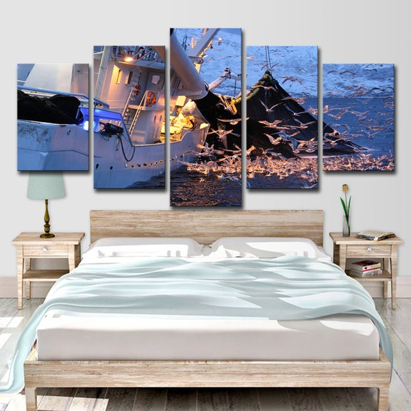 Modern Home Wall Art Decor Modular Canvas Pictures 5 Pieces Sea Swallow Painting HD Printed Fishing Boat Poster
