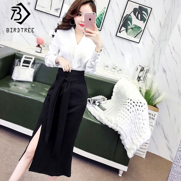 2019 New Woman 2 Piece Set Solid Pullover Button Shirt V Neck High Waist Sashes Mid Calf Split Skirt Office Lady Sale S92813Z