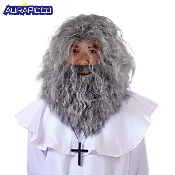Adult Wizard Gandalf Cosplay Wig Long Curly Hair Grey Beard Outfit Old Man Priest Costume Wig Halloween Fancy Dress Accessories