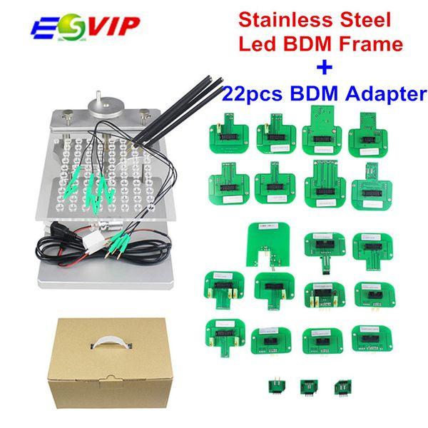Metal LED BDM Frame Stainless Steel 2IN1 22pcs BDM Probe Adapters ECU Programming Bracket For KESS V2 KTAG FGTECH Tuning Tool