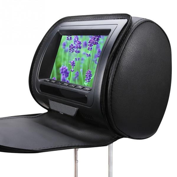 Pantalla LCD Juego Reproductor de DVD Monitor de 7 pulgadas Reposacabezas del coche Funda con cremallera Altavoz Infrarrojo Video ajustable USB Multifunción HD # 2