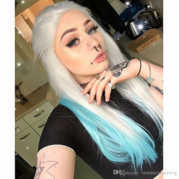 26inch Silver Grey Ombre Blue Straight Synthetic Lace Front Wig Middle Parting Heat Resistant Fiber Natural Looking Wigs for Black Women