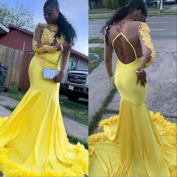 Yellow Mermaid Prom Dresses 2019 New Feathers Evening Dress Party Pageant Gowns Special Occasion Dress Dubai 2k19 Black Girl Couple Day