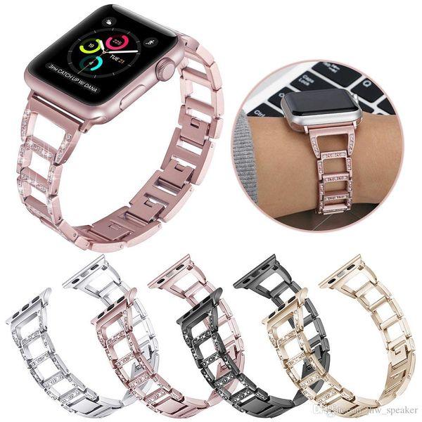 Elmas Metal Kayış Değiştirme Apple Watch Band için 42mm / 38mm 44mm / 40mm Apple İzle Serisi Için iWatch Band Alaşım Bağlantı bilezik 4 3 2 1