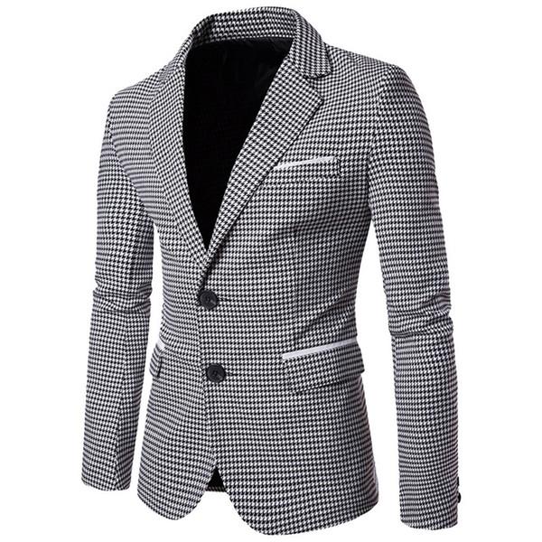 Casual Plaid Print Men Blazer Moda Vestido de novia de manga larga Abrigo Otoño Blanco Social Business Mens Blazer Jacket