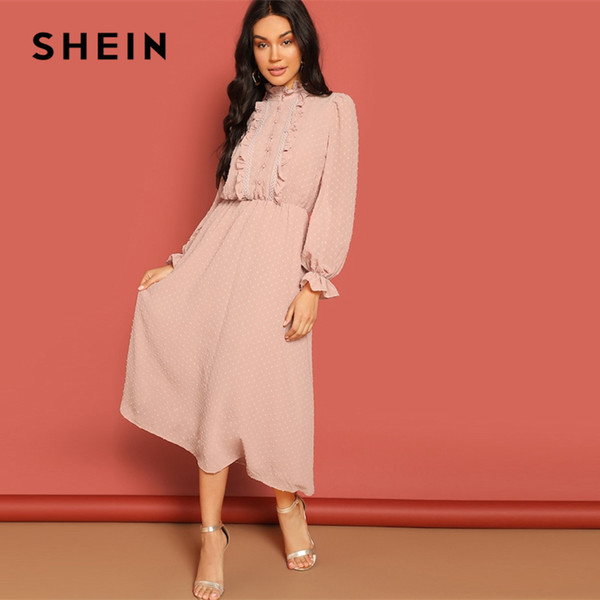 Shein Pink Frill And Lace Trim Half Placket Dot Jacquard Stand Collar Dress Autumn Women Long Sleeve Solid Arabian Dresses Y190425