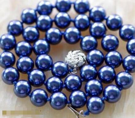 Prett Прекрасные женские Свадебные DSX754 БЕСПЛАТНАЯ доставка 10 ММ Темно-синий Sea Shell Жемчужное Ожерелье