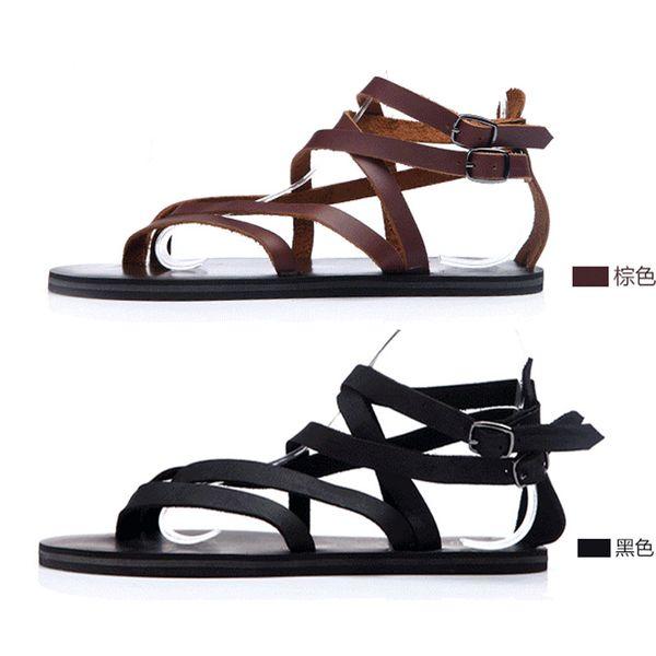 Roma Stil Gladyatör Erkekler Sandalet Kesip Cusual Flats Plaj Sandalet Yaz Ayakkabı Erkekler Hakiki Deri Yumuşak Tanga