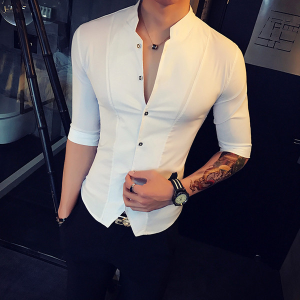 Stand Collar Chinese Style Slim Fit Korea Clothes Men Half Sleeve Summer Designer Club Shirt Camisa Masculina Q190514