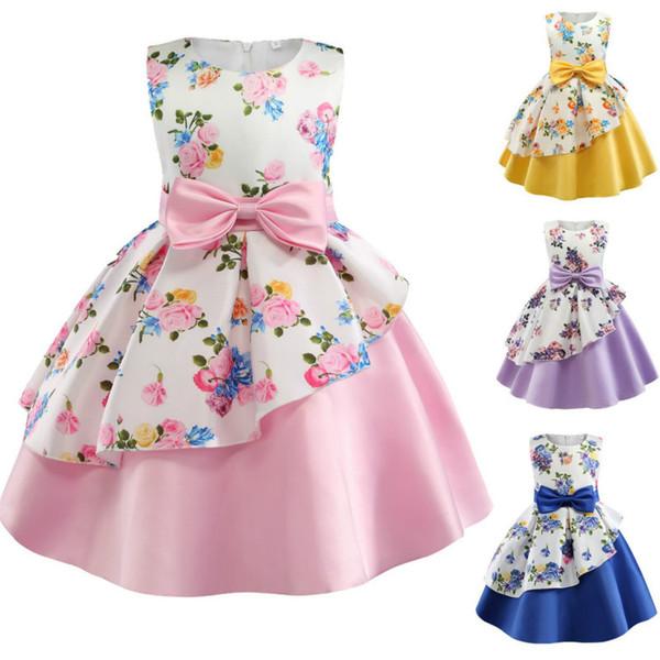 Tollder Girls Dress Princess Party casamento da flor com Bow bebê Crianças Costume de Natal vestido Crianças Roupa Infantil para 2-8y