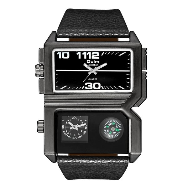 Creative personality men's watch manufacturers fashion jewelry two time zone compass quartz bracelet gift