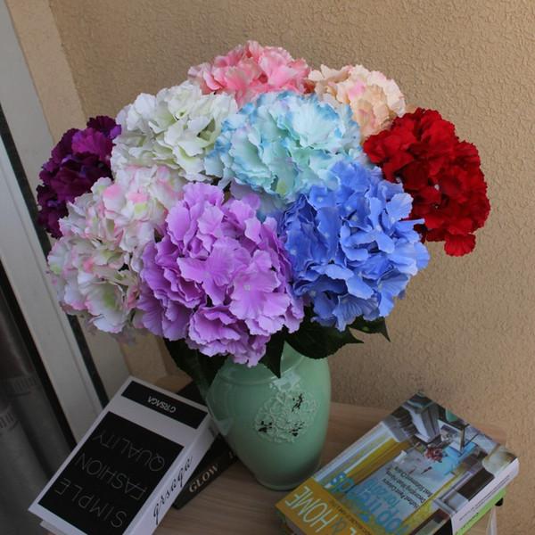 10 unids / lote Single Branch Flores Artificiales Decoración de la boda Road Lead Party home Living room Decor Hydrangea Bouquet Seda Flores pared