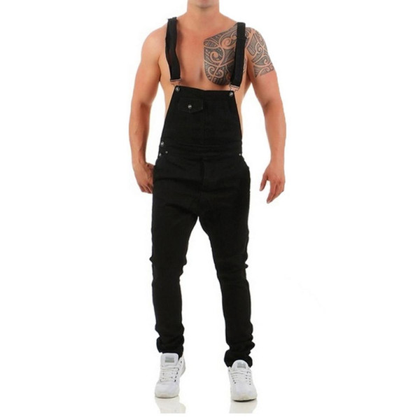 Men Casual Ripped Pocket Medium Waist Ankle Length Long Jeans Bib Pants Loose Spring, Summer, Autumn