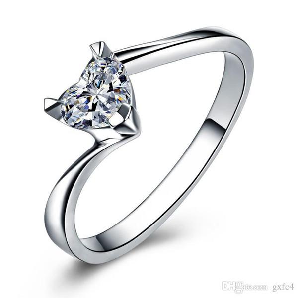 Anillo de plata de la joyería de lujo para las mujeres del corazón romántico 1.2 Ct CZ Diamond compromiso anillo de boda joyería al por mayor