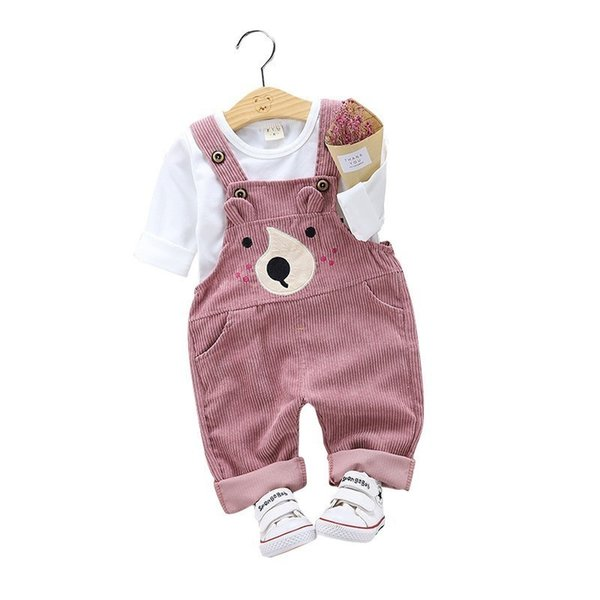 2019 Spring Autumn Children Boy Girl Suit Baby Cotton T-shirt Cartoon Bear Belt Pants 2pcs Sets Kids Clothing Toddler Tracksuits