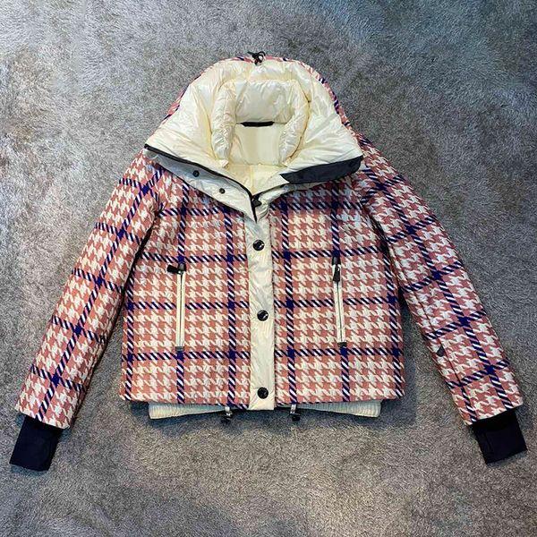 Clássico 2019 Casaco Jaqueta Design de Moda Meninas Xadrez Estilo Curto Casacos de Parka Para As Mulheres Inverno Outwear Casaco Para Baixo Roupas