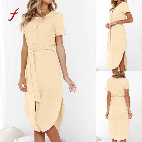 Womens verão manga curta envoltório dress tripulação pescoço gravata wasit slim maxi dressslim toque suave vestido de verão nova chegada 2019