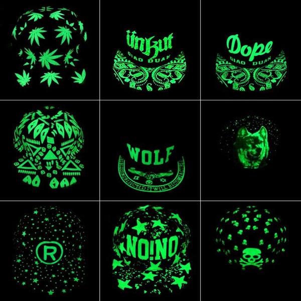 Fluorescência Boné de Beisebol Verde Brilho Luminoso Hip Hop Chapéu Night Light Moda Mulheres Homens Snapback Caps