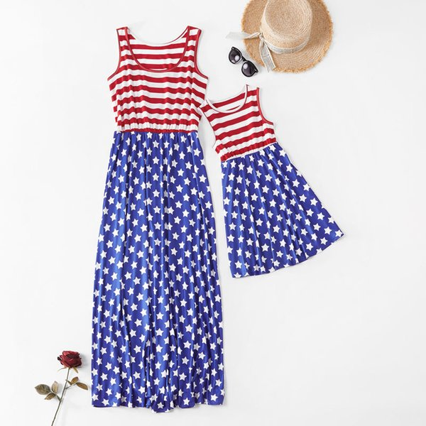Mother Kids T-Shirt Skirt Sleeveless Round Neck American Flag Independence National Day USA 4th July Stripe Family Matching Outfits