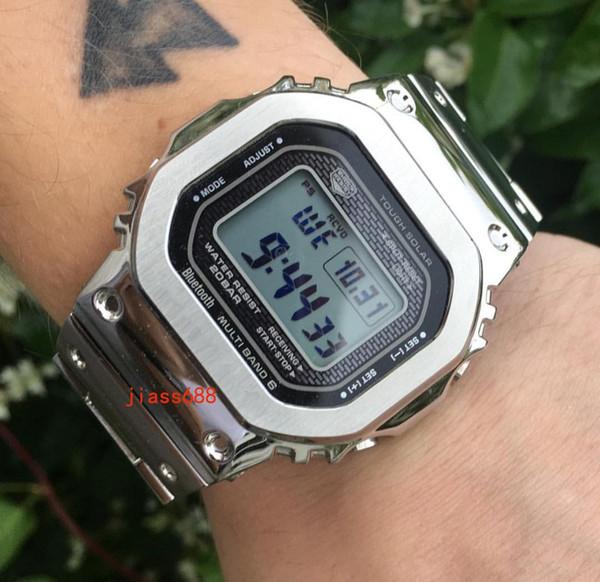 NUEVOS relojes de pulsera de acero para hombres de lujo, correa de acero, estilo G, pantalla LED, reloj deportivo, resistente a los golpes, esfera cuadrada, correa de plata, relojes