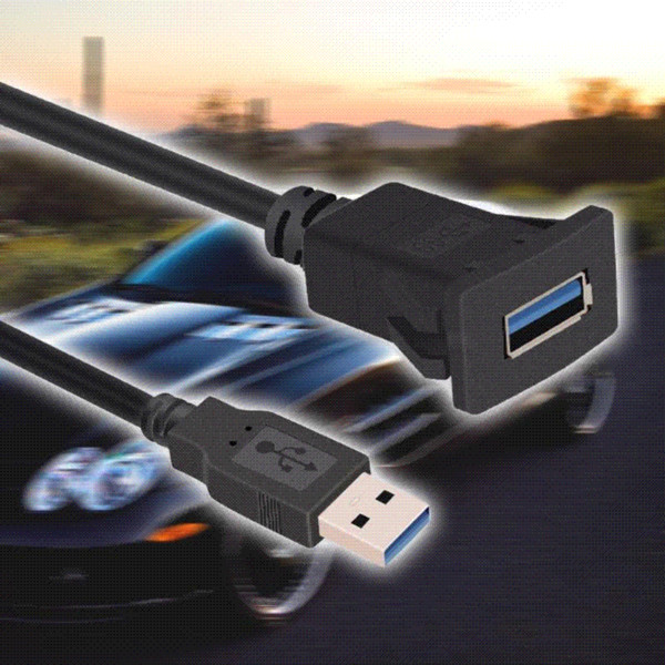 1m / 3.3ft Porta Singola USB3.0 A Maschio a USB3.0 A Femmina Car Flush Mount Cable Car Van Dashboard Flush Mount Dual USB Presa Nuovo