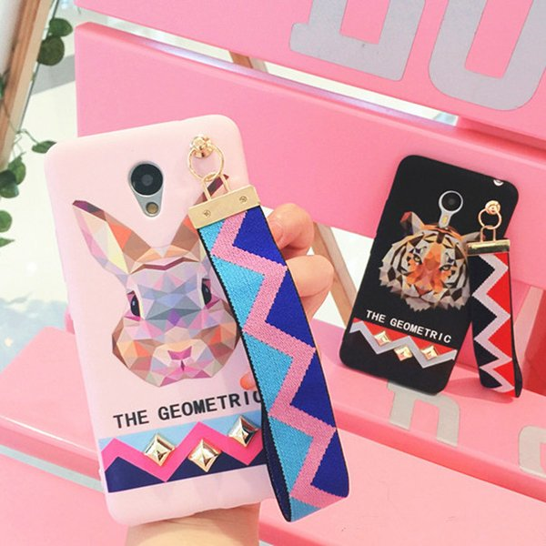 Luxury Europe Animal Tiger Rabbit Stud Rivet Wrist Strap Case for IPhone X XS 8 7 Case for IPhone7 6 6S PLus Soft TPU Cover Pink 1pc