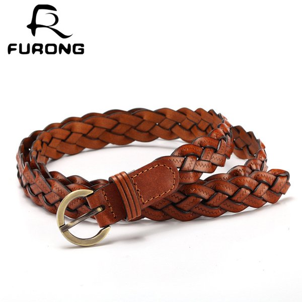 FURONG Ladies Cowhide Belt Weaving Korean Fashion Thin Candy Genuine Leather Pin Buckle Waistband Pasek Do Spodni R067