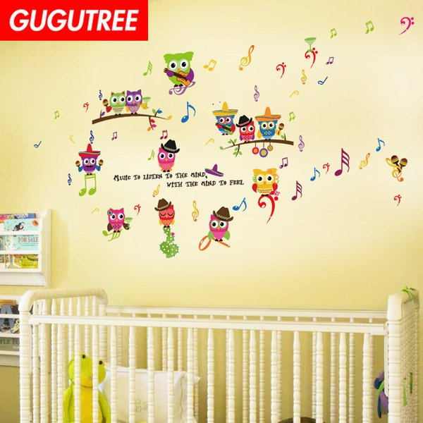 Decorate Home owl muisc letter cartoon art wall sticker decoration Decals mural painting Removable Decor Wallpaper G-1836