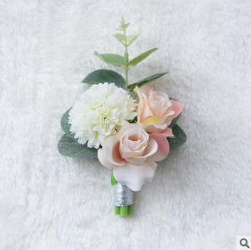 Wedding brooches corsages bridegroom groomsman bride flowers pins brooch for wedding party white pink color 755