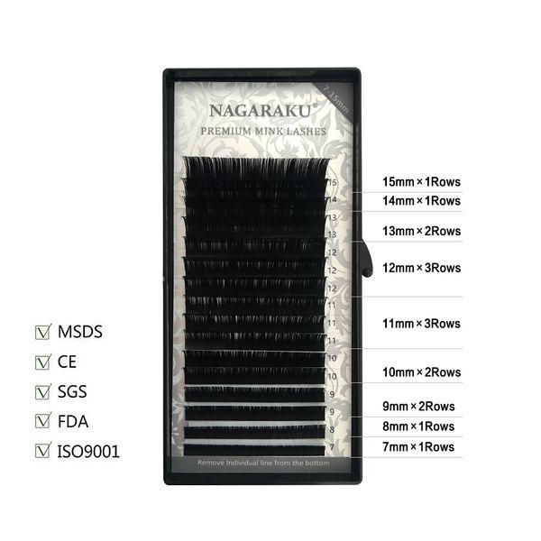 NAGARAKU 7~15mm MIX 16rows/tray mink eyelash extension natural eyelashes individual eyelashes false eyelash