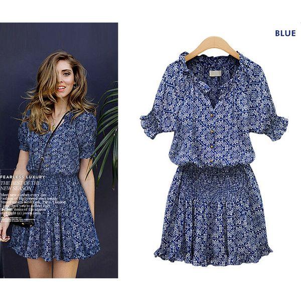 Marque Nom De Mode Nouvelle Vente Chaude Femmes robe BlueTrendy Col Rond Sexy Bureau Casual Femmes Womens Drees S-2XL