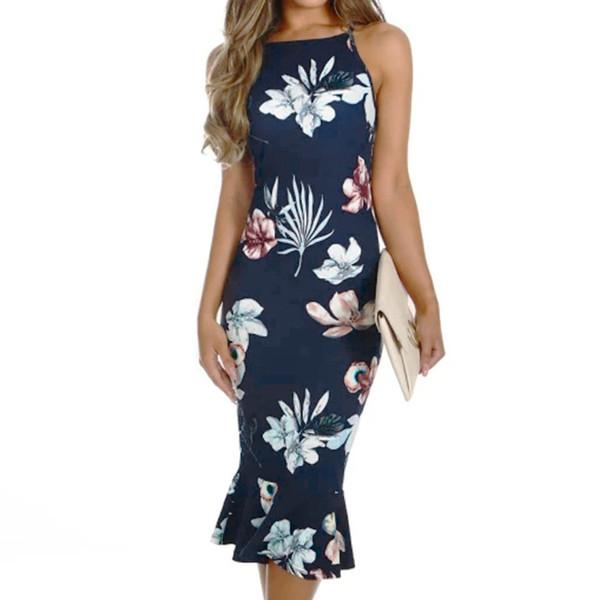 Women Off Shouder Blooming Babe Floral Dip Hem Party Evening Bodycon Midi Dress Comfortable fabrics Vestito da donna#30