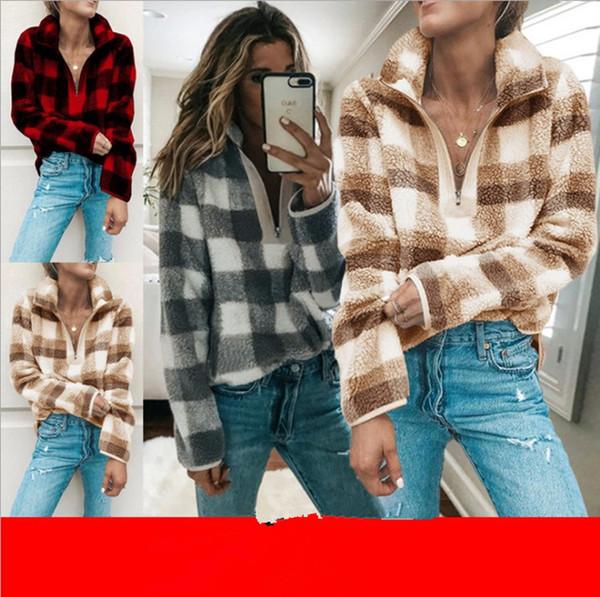 Women Zipper Plaid Hoodie Sherpa Fleece Sweatshirt Fashion Turtleneck grid Blouse Autumn Winter Long Sleeve Pullover Tops Plush Sweater sale