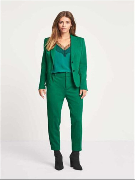Green Women Busines Jacket+Pants Women Business Suits Womens Pantsuit Office Uniform Style Female Trouser Suit Custom Made