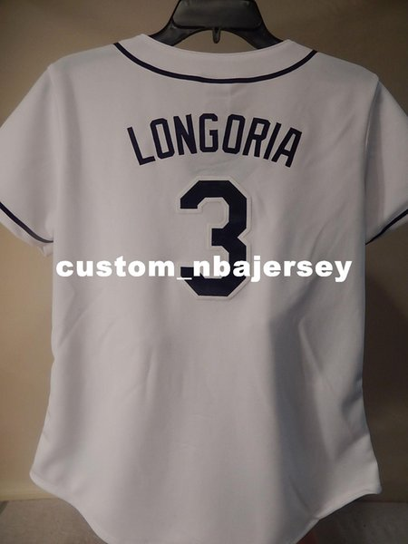 Cheap custom Majestic EVAN LONGORIA Baseball Jersey WHITE Stitched Customize any name number MEN WOMEN BASEBALL JERSEY XS-5XL