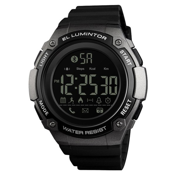 Skmei digital smart watch ABS case PU band with 50m waterproof pedometer calorie sleeping monitor watch