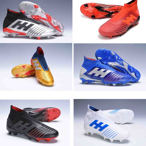 2019 New Men High голеностопного бутсы Predator 19+ FG футбольные бутсы Predator 19 + dbzz Открытый Футбол Бутсы дети Chaussures де футбол