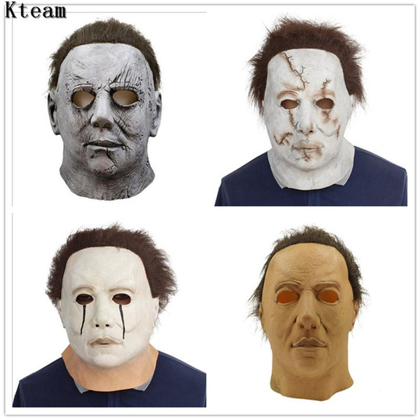 Hot Sale Movie Michael Myers Mask Halloween 2018 Horror Movie Cosplay Adult  Latex Full Face Helmet Halloween Party Scary Prop Mardi Gra Masks Mardi