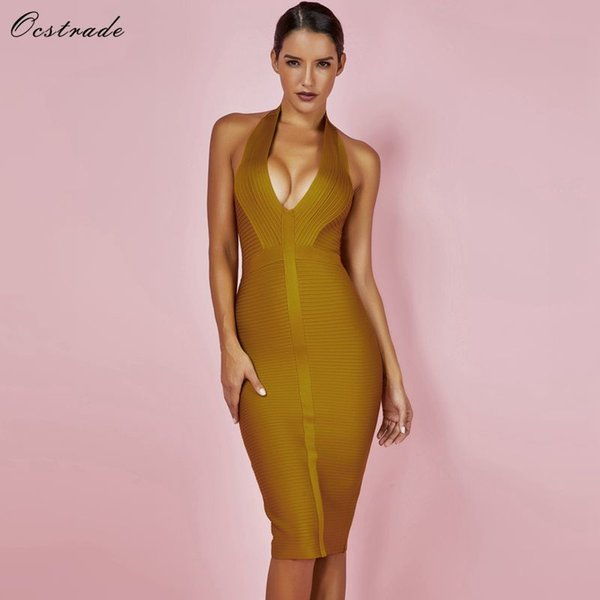 Ocstrade Summer Dresses Bandage 2019 New Arrivals Women Halter Sexy Yellow Bandage Dress Rib Hollow Out Bodycon Dress Club Party Y19041001