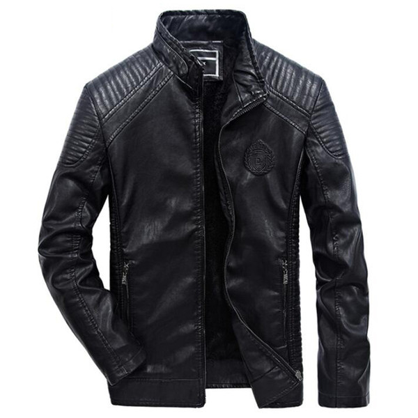 Leather Jacket Men Casual Slim Fit Pu Biker Motorcycle Leather Jackets Mens Fashion Plus Size 5xl 6xl Warm Stand Collar Coats