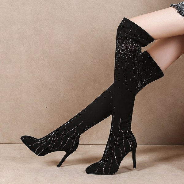 Season Women's Shoes Rhinestone With High-heeled Shoes Long Overknee Boots Boots Elastic Small Boots