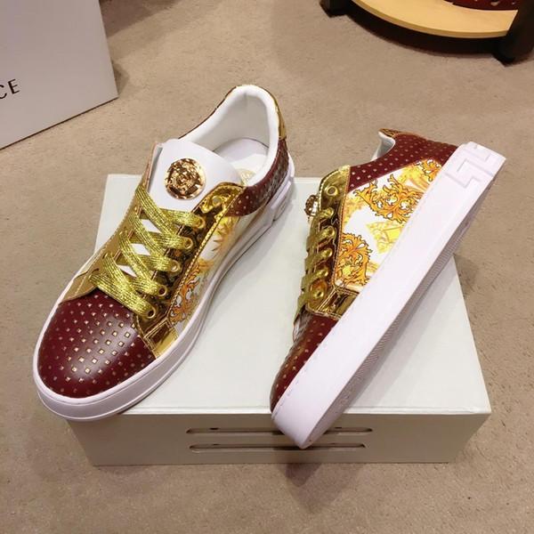 2019 w sonbahar yeni lüks tasarımcı deri rahat erkek moda ayakkabı, yüksek kaliteli vahşi düşük top rahat ayakkabılar, boyutu: 38-44
