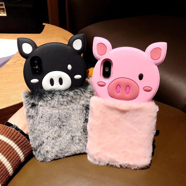 Luxury Warm 3D Cute Pig Plush Fur Phone Case For iPhone X XS XR XS MAX 6 6S 7 8 Plus Fashion Furry Soft TPU hair Back Cover Shell